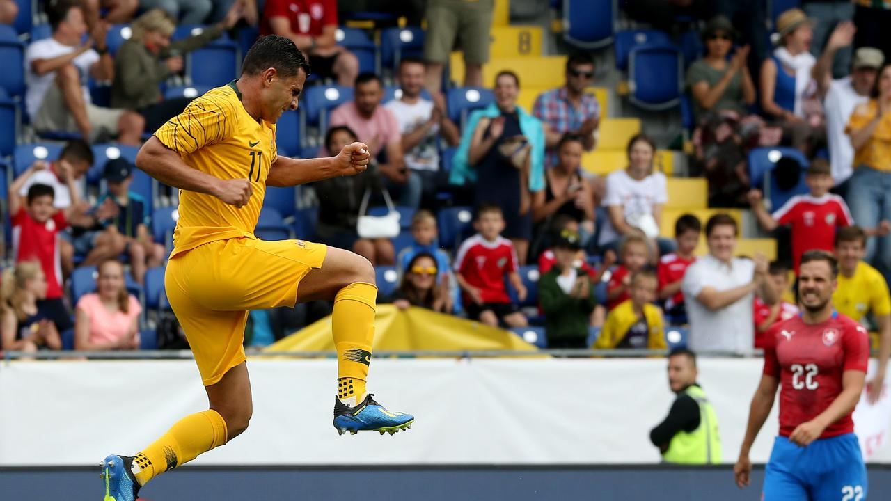 Andrew Nabbout celebrates scoring a goal