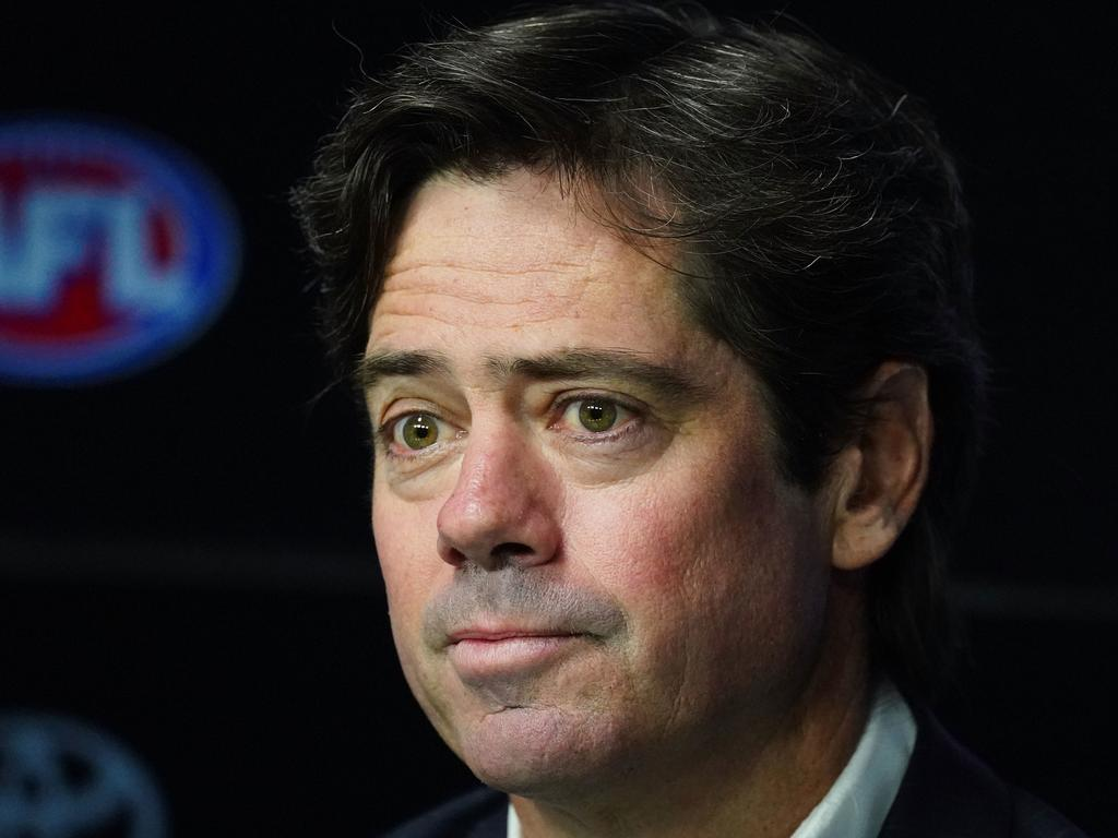 AFL CEO Gillon McLachlan speaks to the media at Marvel Stadium in Melbourne, Sunday, March 22, 2020. The AFL season is set to be postponed after further travel restrictions to combat the spread of coronavirus were imposed by the federal government. (AAP Image/Scott Barbour) NO ARCHIVING