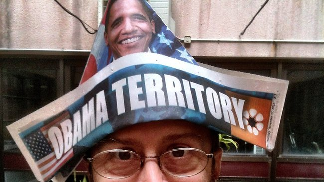 IT'S A FREE HAT! The NT News goes bonkers for Barack. Picture: Rantz / Flickr