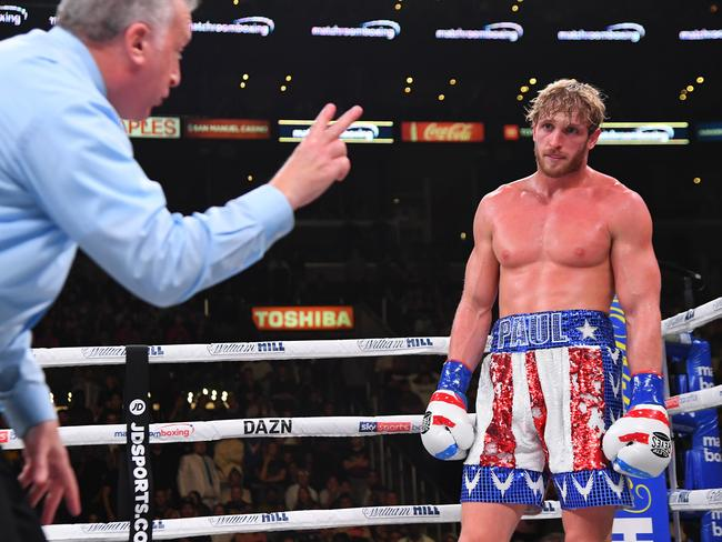 Referee Jack Reiss deducts two points from Logan Paul. Picture: Jayne Kamin-Oncea/Getty Images/AFP
