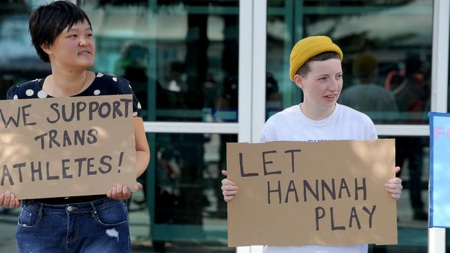 Protestors demonstrate support for Hannah Mouncey. Picture: Andrew Henshaw