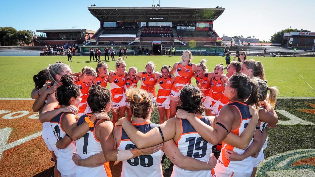 There are two rounds left to be played in the AFLW season, plus three weeks of finals. (Photo by Matt Turner/AFL Photos via Getty Images)