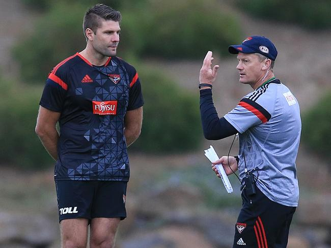 Mark Jamar is currently a part-time ruck coach at Essendon. Picture: Wayne Ludbey