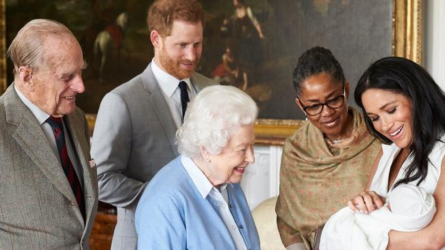 The Queen meets her newest grandson Archie, the son of Harry and Meghan. Picture: Chris Allerton/AFP