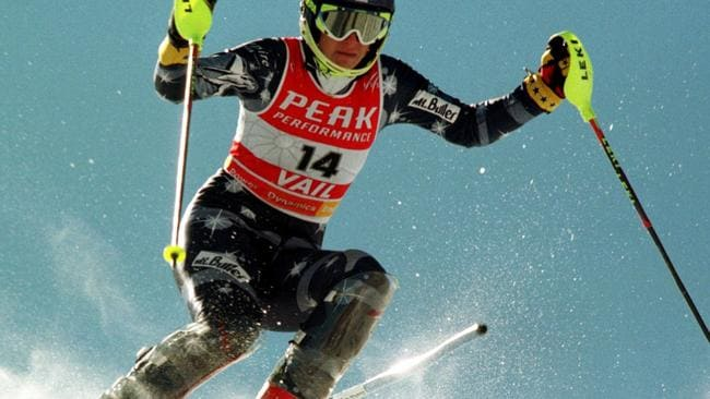 Zali Steggall competing in women's slalom at 1999 World Alpine Championships.