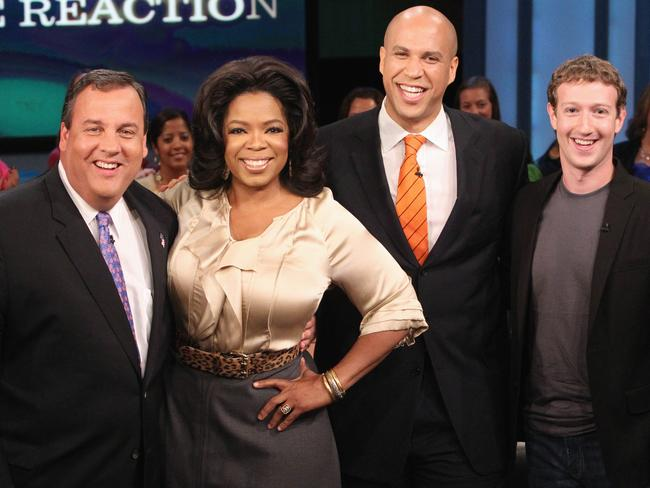 Oprah Winfrey, with then New Jersey Governor Chris Christie, left, Cory Booker, and Mark Zuckerberg. Picture: AP