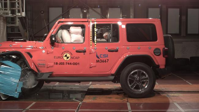 The Wrangler undergoes crash testing in Europe. Picture: Supplied.