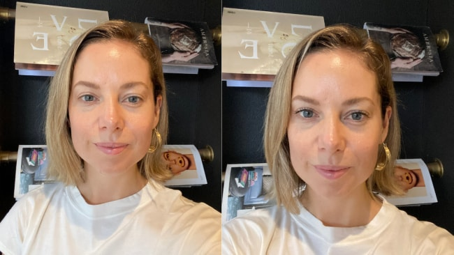 Alison's before and after of the Fenty Mascara.