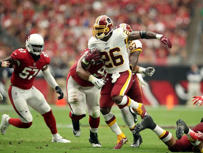 Redskins running back Adrian Peterson on the charge. Picture: Getty