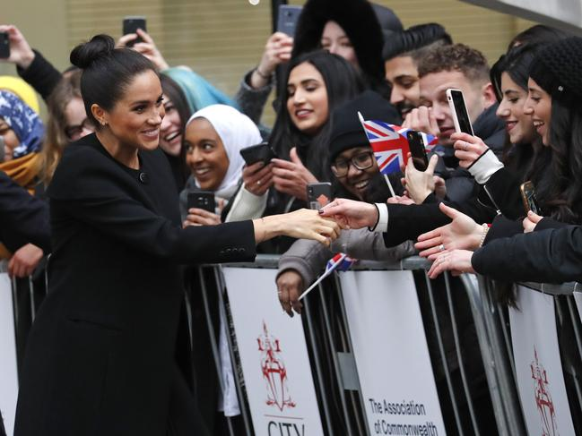 Meghan received a rock star's welcome from excited uni students. Picture: AP