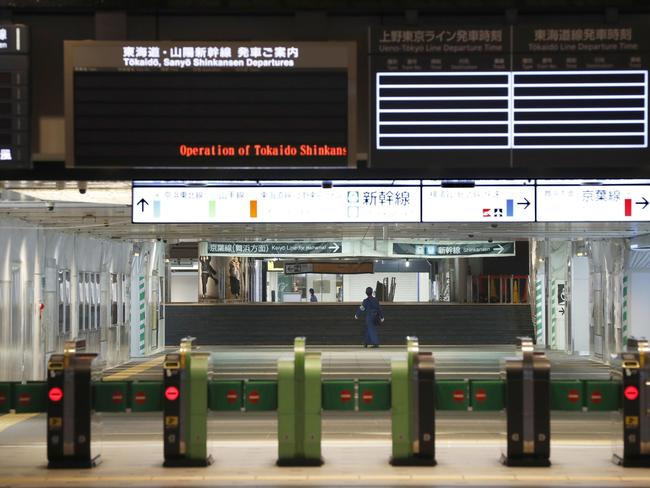 Tokyo station entrance is deserted as Typhoon Hagibis approaches. Picture: AP