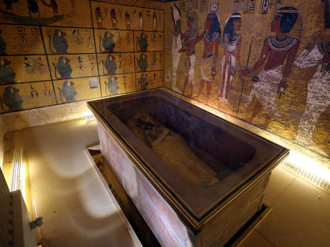 An interior view of the King Tutankhamun burial chamber in the Valley of the Kings, Egypt.