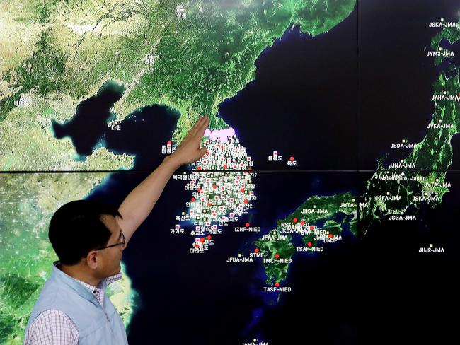 Ryoo Yog-Gyu shows seismic waves in North Korea on a screen at the Korea Meteorological Administration center after North Korea's sixth nuclear test. Picture: Getty