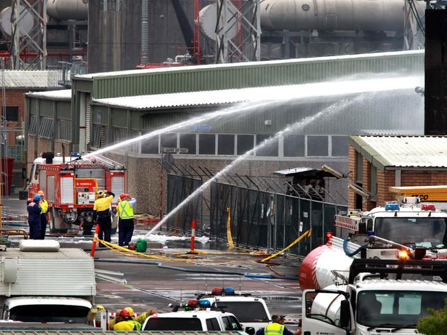 Fireman at the scene of an explosion at Eraring power station.