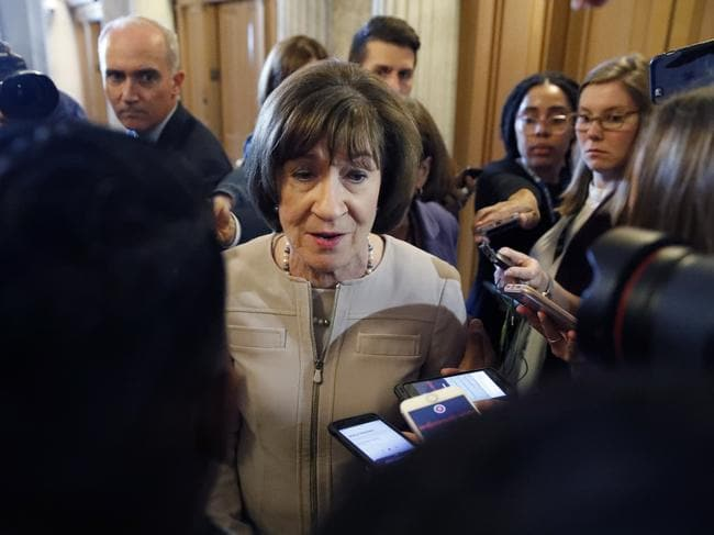 Susan Collins, a Republican from Maine, angered many by voting in favour of Kavanaugh's appointment to the Supreme Court. Picture: AP