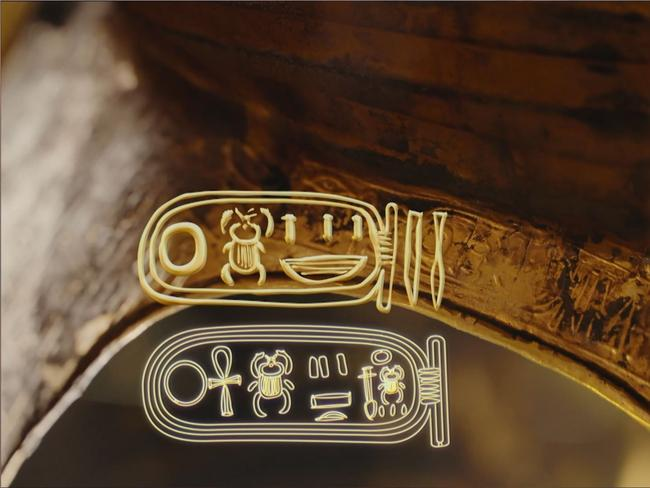 Inside the burial mask is an inscription. Tut's name has been engraved on top of another. Screen capture: King Tut: Forgotten Treasure