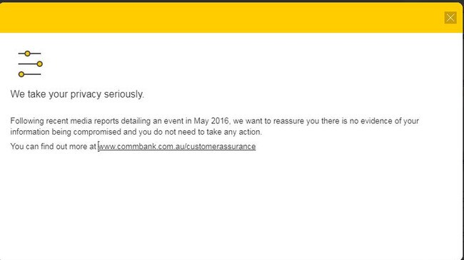 Commonwealth Bank note sent to online customers in the wake of the data breach.