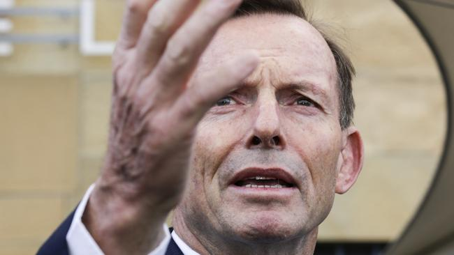 Former Australian prime minister Tony Abbott in Hobart after the infamous headbutt. Picture: Jim Rice/AAP