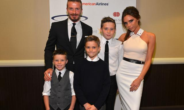 CENTURY CITY, CA - MAY 20: Professional soccer player David Beckham, wife Victoria Beckham and sons (L-R) Cruz, Romeo and Brooklyn Beckham arrive at the 27th Anniversary Sports Spectacular benefiting Cedars-Sinai Medical Genetics Institute at the Hyatt Regency Century Plaza on May 20, 2012 in Century City, California. (Photo by Alberto E. Rodriguez/Getty Images for Sports Spectacular)