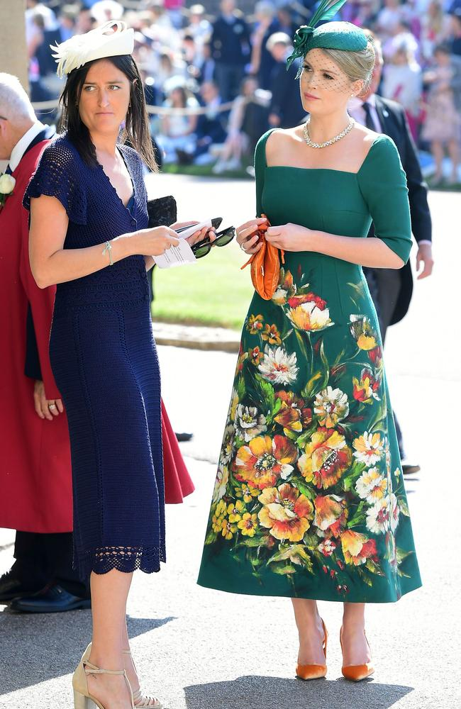 'Firstly, the lass in green is Kitty Spencer — so she has the best name ever. Secondly, she is Diana's niece. Third, she is glorious. Her hat, her lovely frock, the minimal jewellery. She looks royal as all heck. I love her guts.' Picture: Ian West/AFP Photo