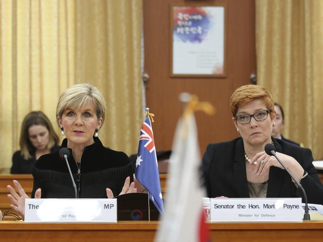 Australian Foreign Minister Julie Bishop, left, speaks as Australian Defence Minister Marise Payne listens during a meeting with their South Korean counterparts in Seoul. Picture: AP