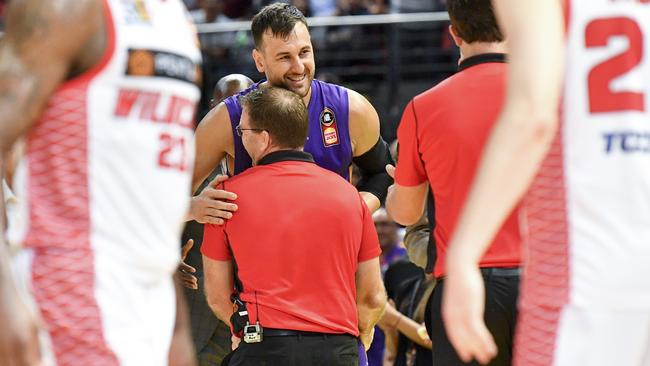 Andrew Bogut shares a smile with Trevor Gleeson. Picture: AAP Images
