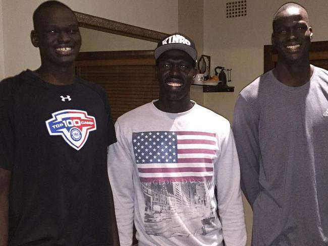 Talented family: Sydney Swans defender Aliir Aliir (C) and his cousin, NBA No.10 draft pick Thon Maker (R) with his brother Matur Maker (L). Picture: Instagram