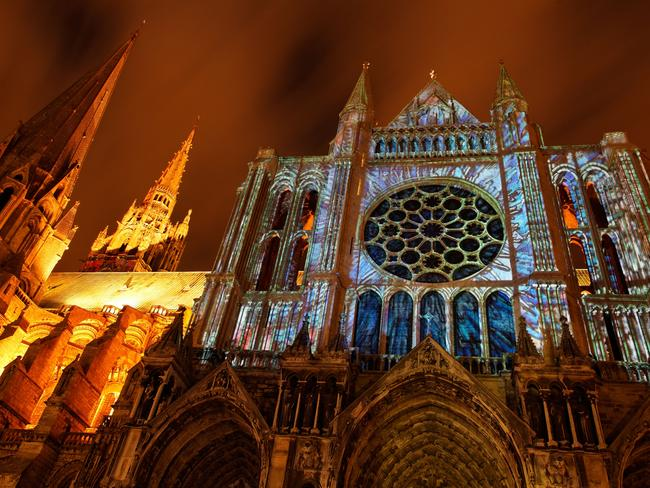 The Cathedral of Our Lady of Chartres, France, during the Festival of Lights. Picture: Alamy