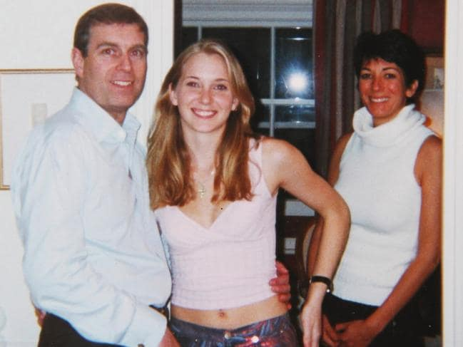 Prince Andrew poses with a 17-year-old Virginia Roberts in the home of alleged Epstein pimp Ghislaine Maxwell in London's Belgravia. Picture: Backgrid