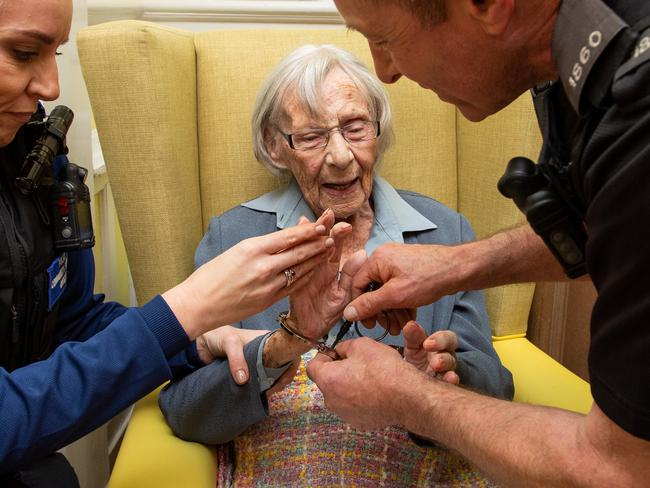 Anne Brokenbrow, 104, was arrested at her aged care facility in Bristol, UK.