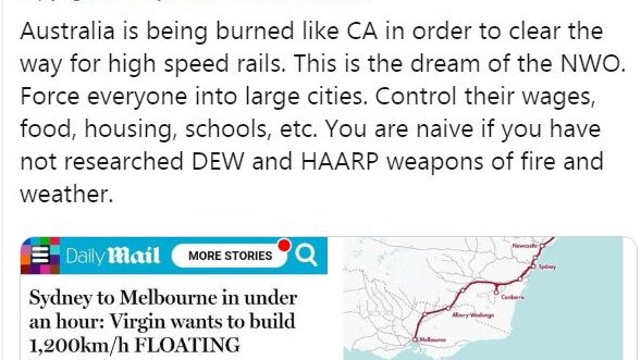 Theorists say a high-speed rail network would make us easier to control. Picture: Twitter
