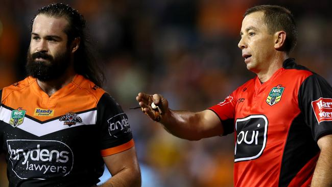 Aaron Woods could easily get on the wrong side of the referees with some of his play-the-balls.