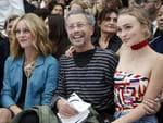 Vanessa Paradis, her daughter Lily-Rose Depp and French artist Jean-Paul Goude attend Chanel's Spring/Summer 2016 women's ready-to-wear show during Paris Fashion Week. Picture: Reuters