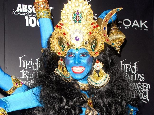 TV personality/supermodel Heidi Klum offended Hindus by dressing as the Hindu goddess Kali at a Halloween partyin 2008. Picture: Joe Corrigan/Getty Images
