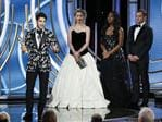 Darren Criss from The Assassination of Gianni Versace: American Crime Story accepts the Best Performance by an Actor in a Limited Series or Motion Picture Made for Television award onstage during the 76th Annual Golden Globe Awards. Picture: Getty