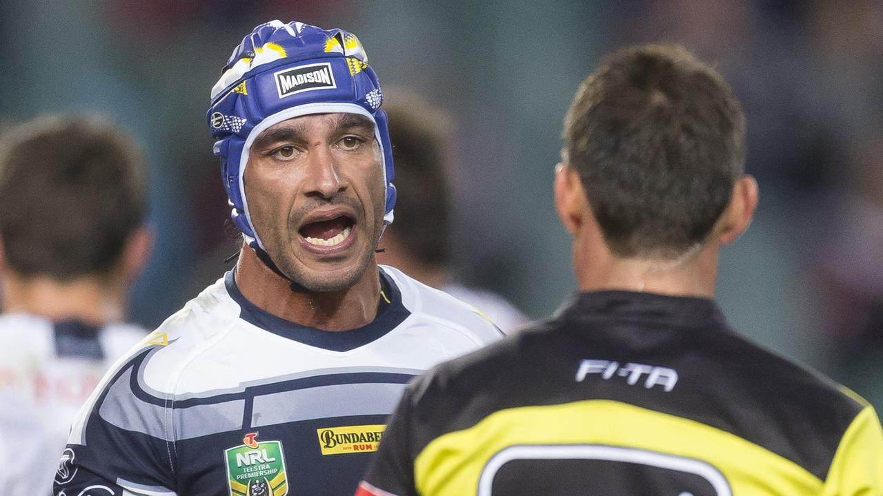 Johnathan Thurston of the Cowboys questions a refereeing decision.