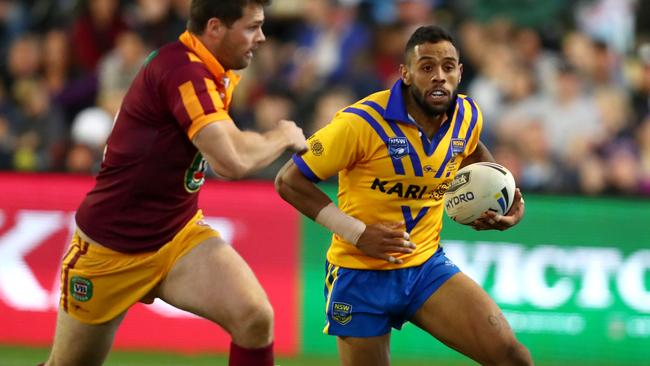 Josh Addo-Carr runs at Anthony Don in the 2017 City-Country clash.