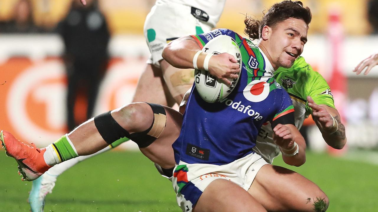 Kodi Nikorima of the Warriors is tackled