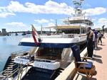 The Felix, a superyacht moored at Port Adelaide on Monday. Picture: AAP / Keryn Stevens