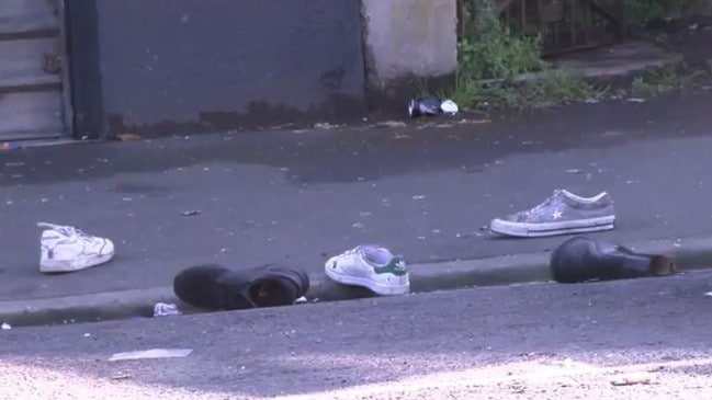 Dozens of shoes littered the street after the party. Picture: 1 News Now TVNZ