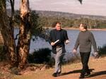 Bob Such with former premier Mike Rann with at the Happy Valley Reservoir in 2002.