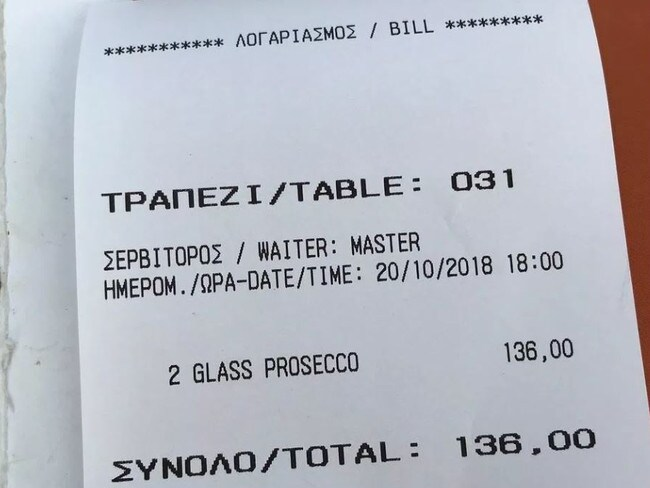 Another customer claimed they were charged 136 euros ($A222.50) for two glasses of prosecco. Picture: TripAdvisor