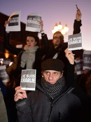People holds placards reading 'I am Charlie' in a gathering in Toulouse. Picture: AFP/Eric Cabanis