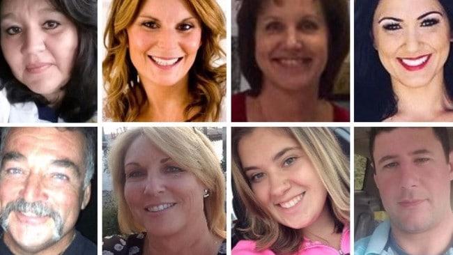 Las Vegas shooting victims. Pictured from top left: Lisa Romero, Rhonda LeRocque, Susan Smith, Jenny Parks, (bottom, left) John Phippen, Dana Gardner, Bailey Schweitzer, Adrian Murfitt.