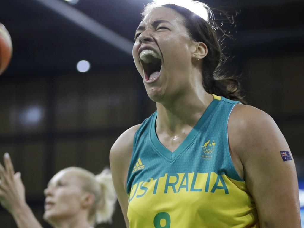Australia center Liz Cambage reacts after making a basket and receiving a foul during the second half of a women's basketball game against Belarus at the Youth Center at the 2016 Summer Olympics in Rio de Janeiro, Brazil, Saturday, Aug. 13, 2016. Australia defeated Belarus 74-66. (AP Photo/Carlos Osorio)