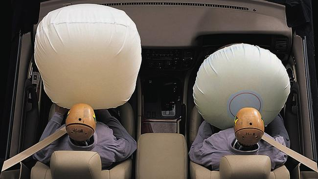 Airbags look like pillows when shown in advertising material but they are in fact an explosive device. Faulty Takata airbags can deploy with too much force. Picture: Supplied.