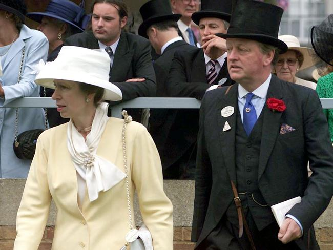 Princess Anne and Andrew Parker Bowles at Ascot. Picture: AP Photo/Sean Dempsey/PA