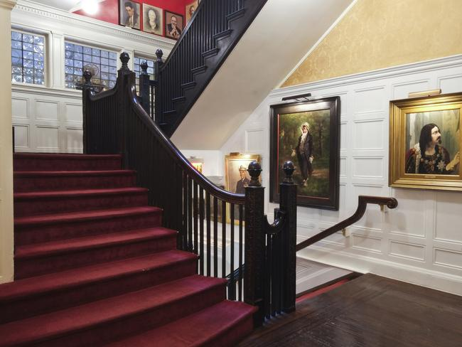 The Gothic-Revival mansion features a grand staircase. Picture: Michael Gerbino