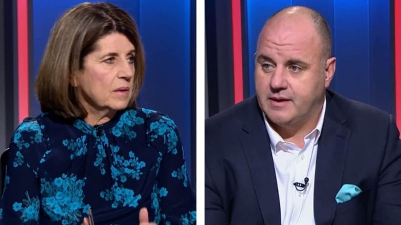 Caroline Wilson and Craig Hutchison have had a heated exchange over the Grand Final start time.