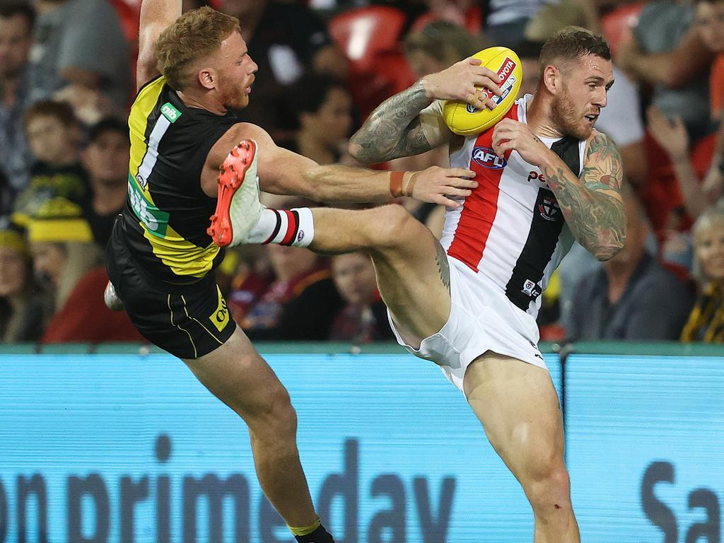 Tim Membrey of the Saints took eight marks. Picture: Michael Klein